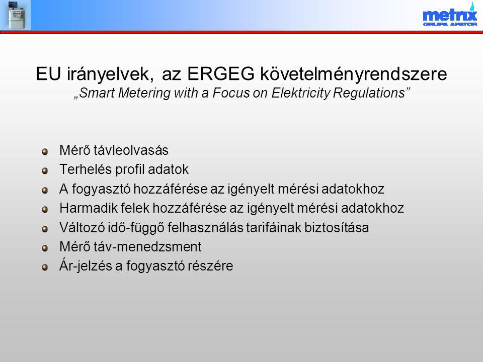 """EU irányelvek, az ERGEG követelményrendszere """"Smart Metering with a Focus on Elektricity Regulations"""