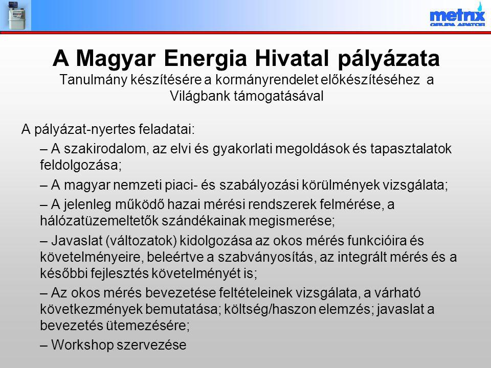 A Magyar Energia Hivatal pályázata Tanulmány készítésére a kormányrendelet előkészítéséhez a Világbank támogatásával