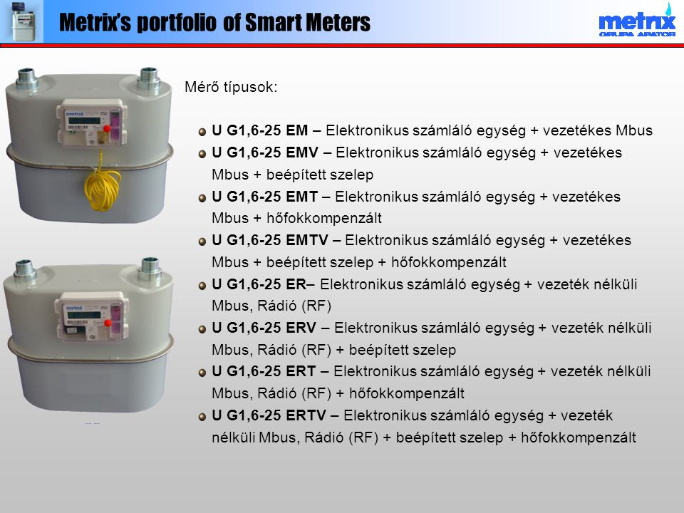 Metrix's portfolio of Smart Meters