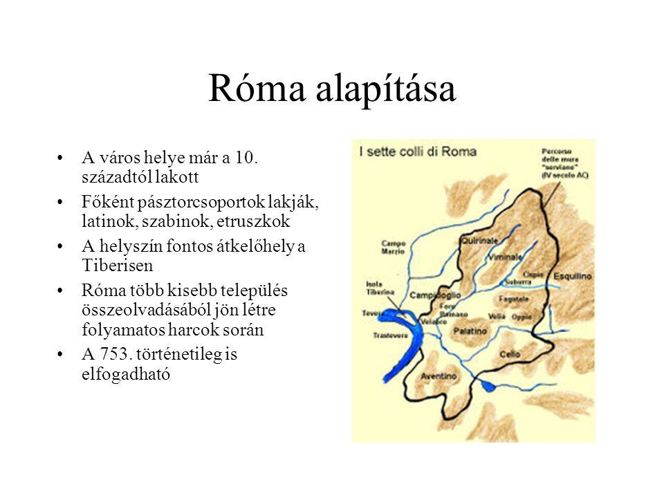 Róma alapítása A város helye már a 10. századtól lakott