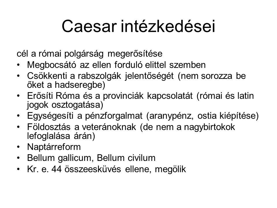 Caesar intézkedései cél a római polgárság megerősítése