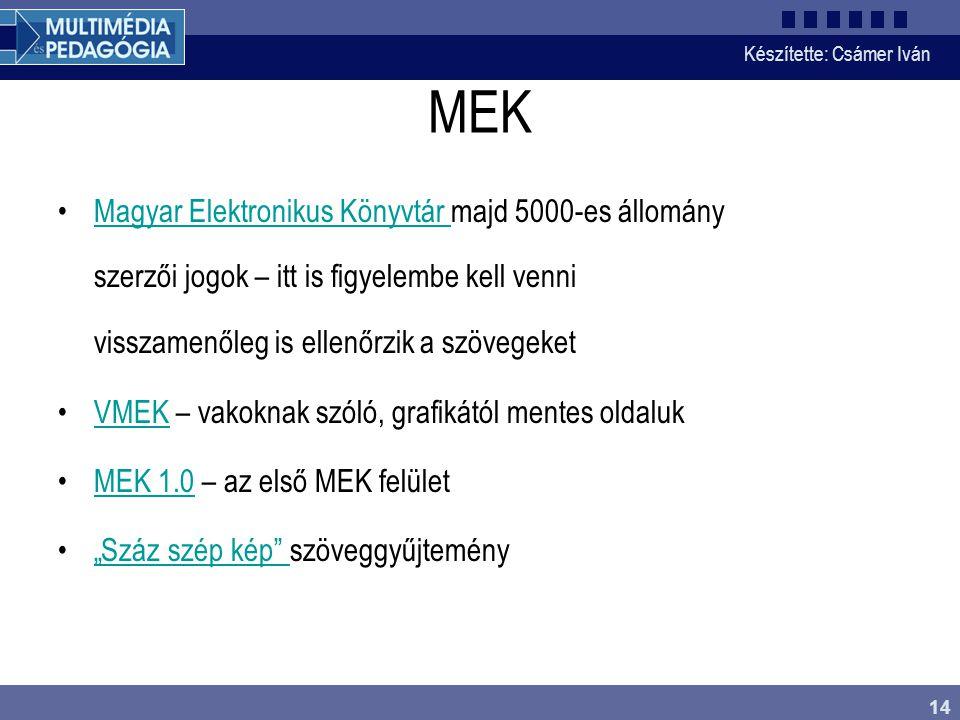 MEK Magyar Elektronikus Könyvtár majd 5000-es állomány szerzői jogok – itt is figyelembe kell venni visszamenőleg is ellenőrzik a szövegeket.