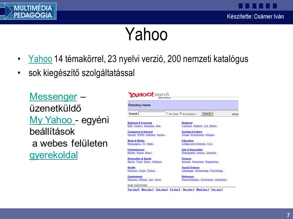 Yahoo Yahoo 14 témakörrel, 23 nyelvi verzió, 200 nemzeti katalógus