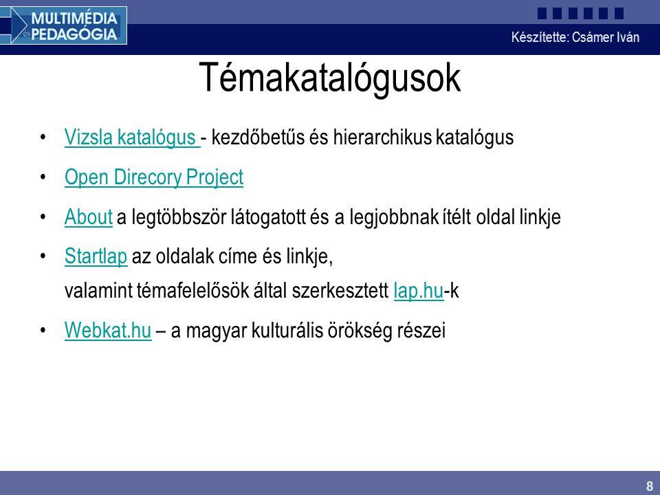 Témakatalógusok Vizsla katalógus - kezdőbetűs és hierarchikus katalógus. Open Direcory Project.