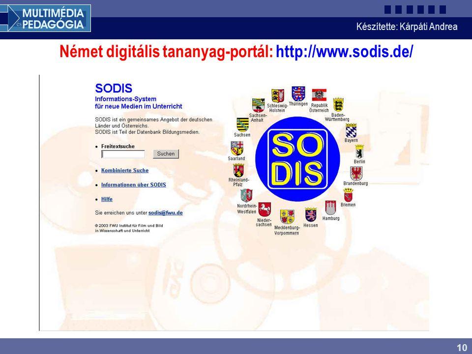 Német digitális tananyag-portál: http://www.sodis.de/