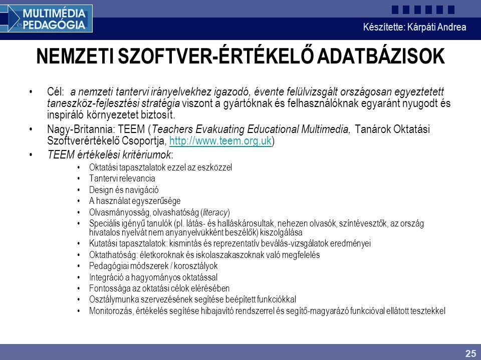 NEMZETI SZOFTVER-ÉRTÉKELŐ ADATBÁZISOK