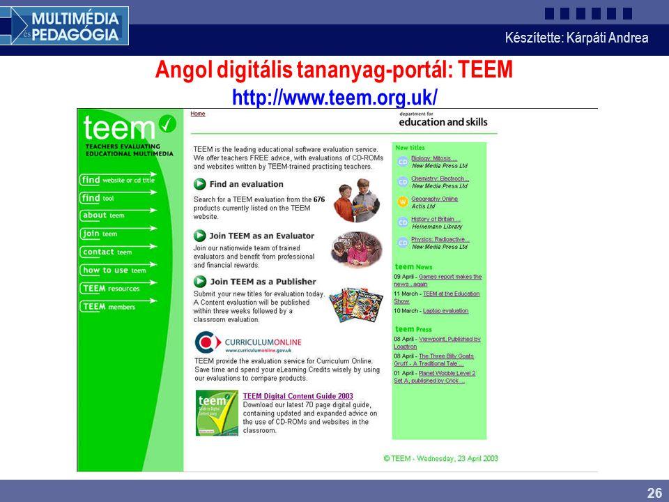 Angol digitális tananyag-portál: TEEM http://www.teem.org.uk/