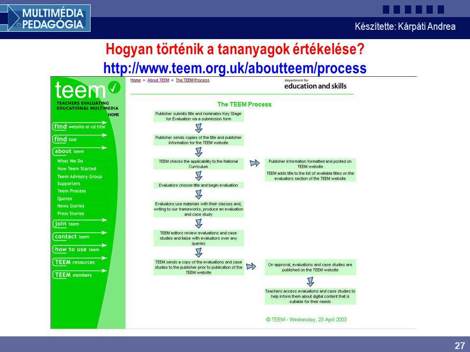 Hogyan történik a tananyagok értékelése. http://www. teem. org