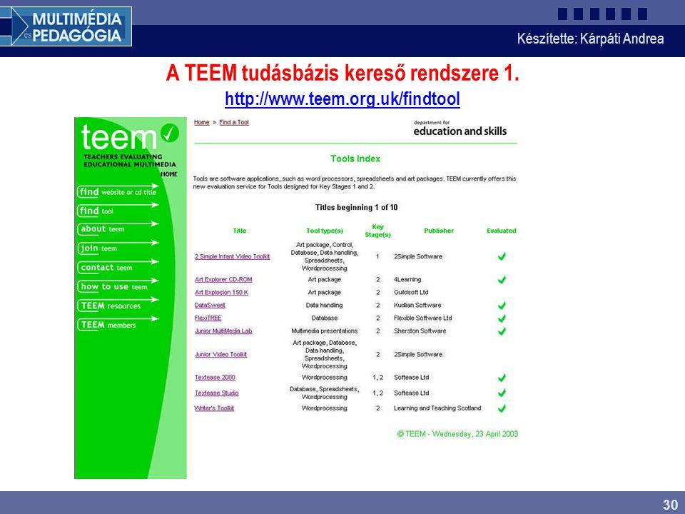 A TEEM tudásbázis kereső rendszere 1. http://www.teem.org.uk/findtool