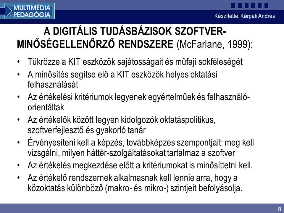 A DIGITÁLIS TUDÁSBÁZISOK SZOFTVER-MINŐSÉGELLENŐRZŐ RENDSZERE (McFarlane, 1999):