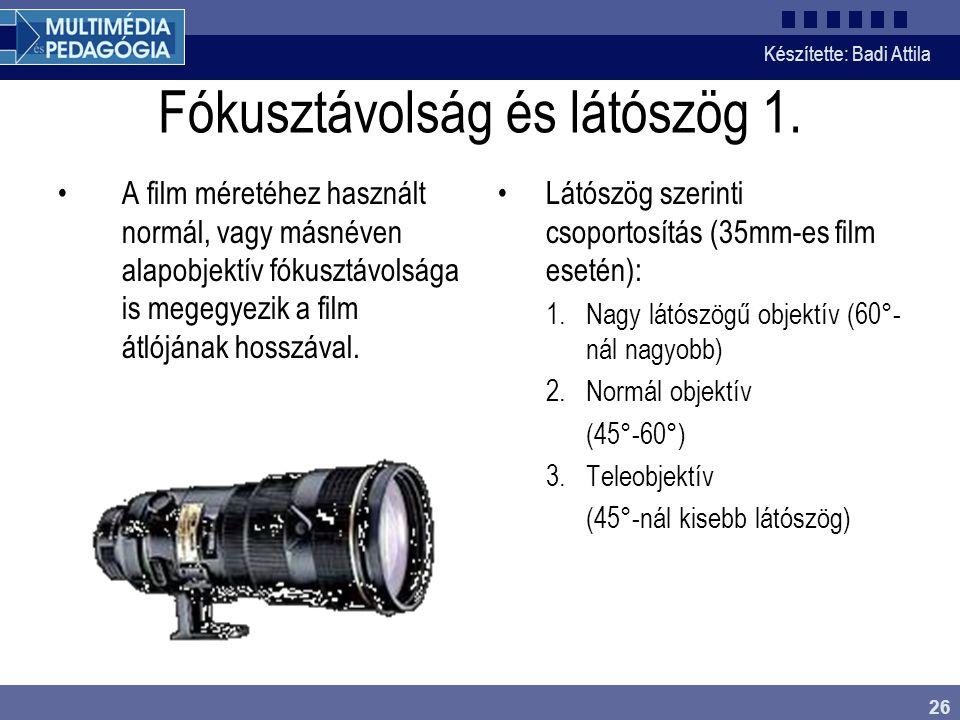 Fókusztávolság és látószög 1.