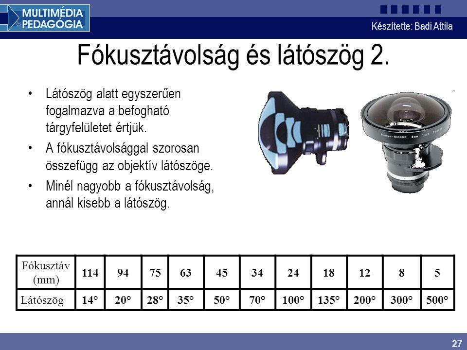 Fókusztávolság és látószög 2.
