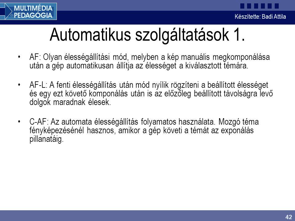 Automatikus szolgáltatások 1.