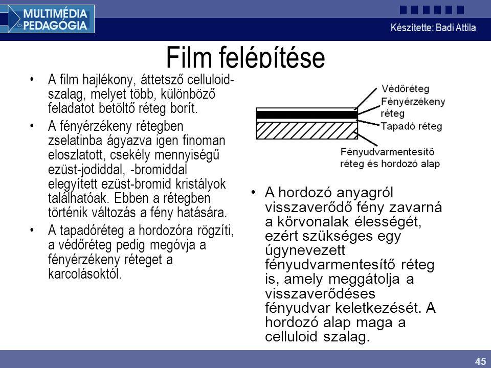 Film felépítése A film hajlékony, áttetsző celluloid-szalag, melyet több, különböző feladatot betöltő réteg borít.
