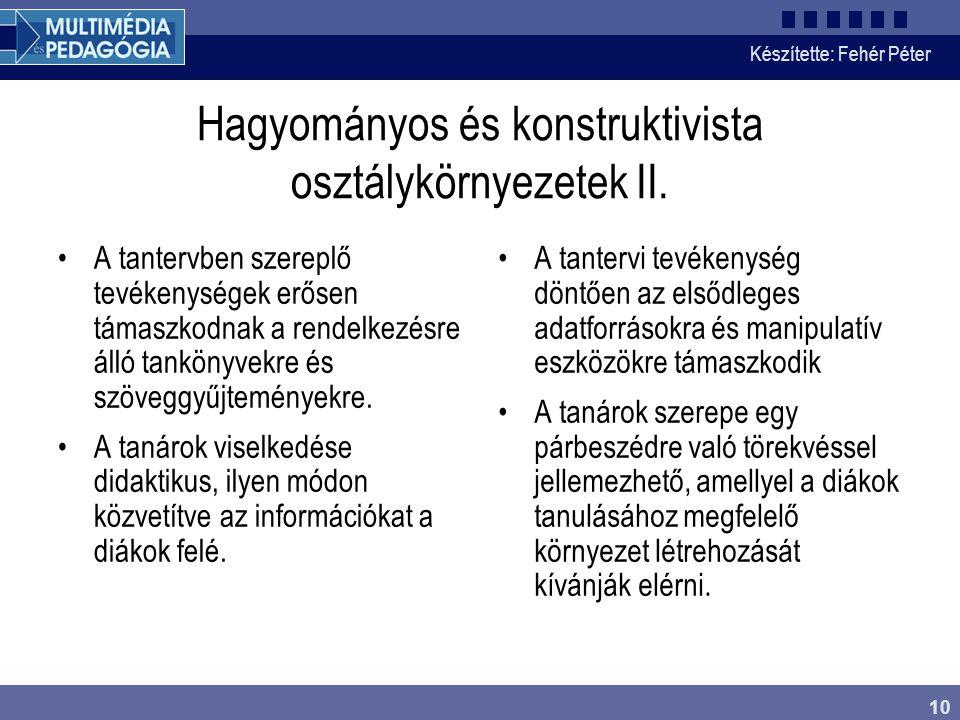 Hagyományos és konstruktivista osztálykörnyezetek II.