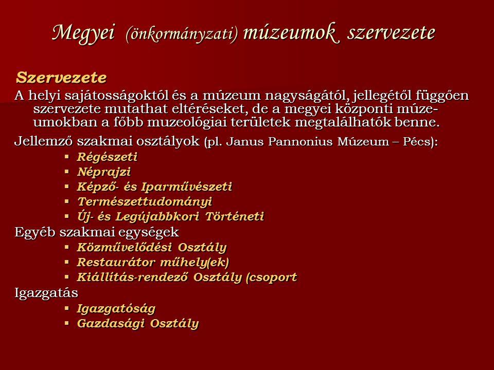 Megyei (önkormányzati) múzeumok szervezete