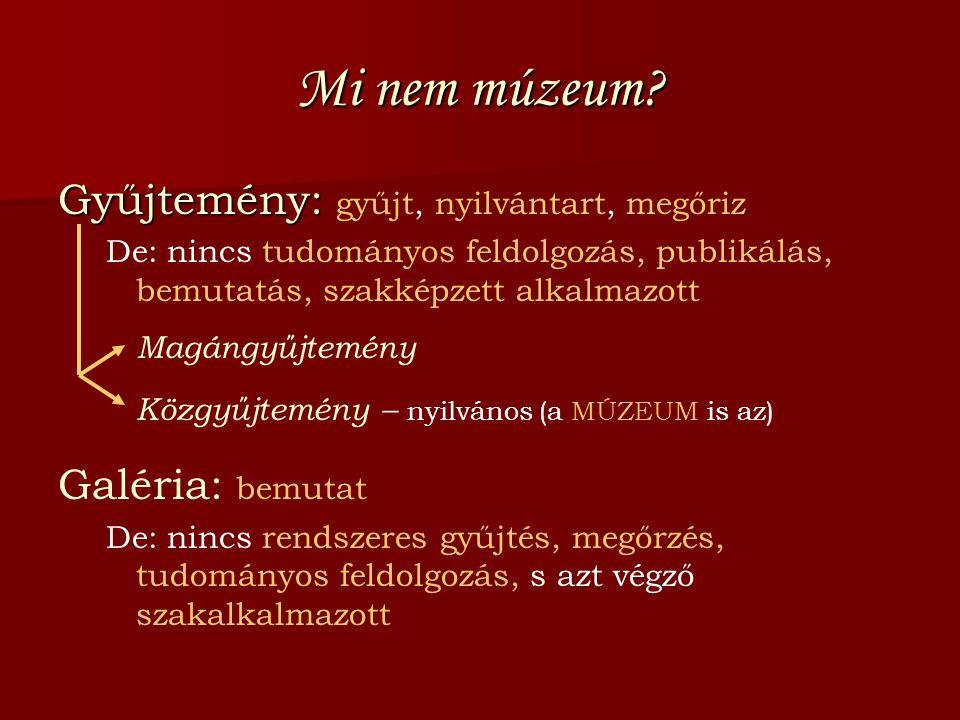 Mi nem múzeum Gyűjtemény: gyűjt, nyilvántart, megőriz