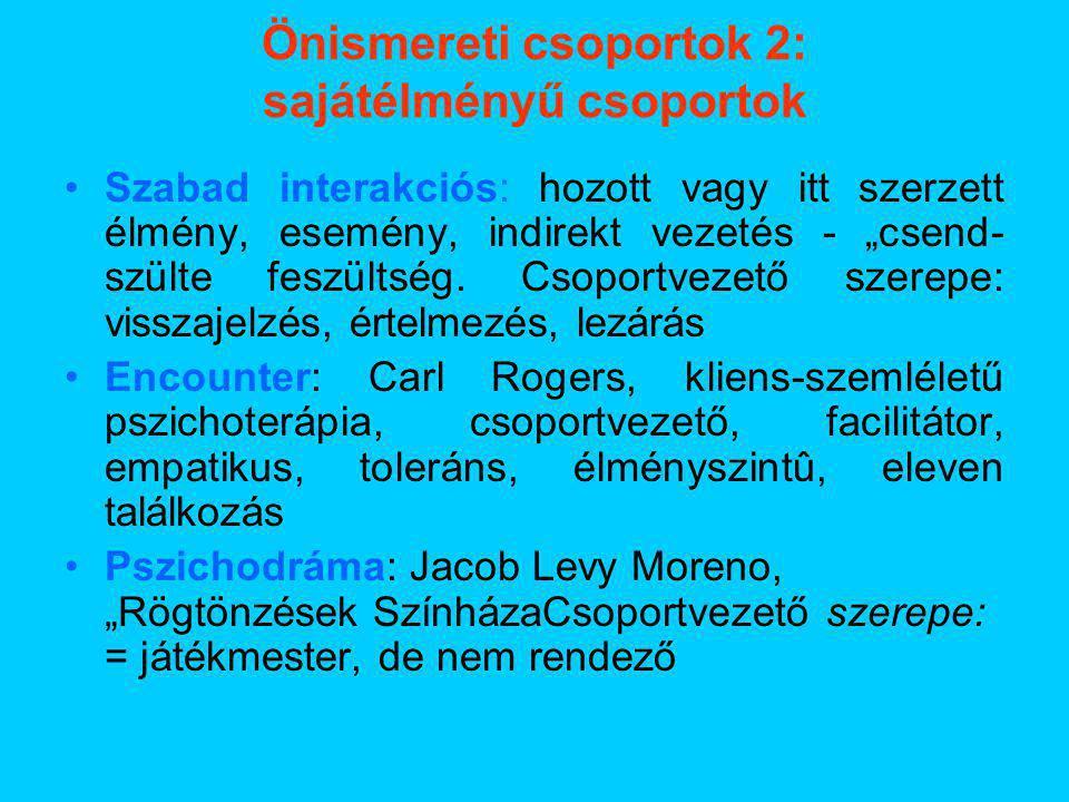 Önismereti csoportok 2: sajátélményű csoportok
