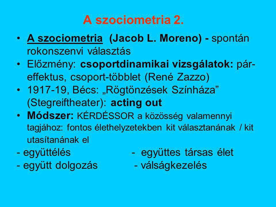 A szociometria 2. A szociometria (Jacob L. Moreno) - spontán rokonszenvi választás.
