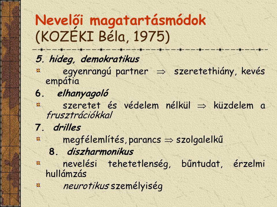 Nevelői magatartásmódok (KOZÉKI Béla, 1975)