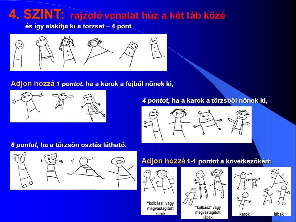 4. SZINT: rajzoló vonalat húz a két láb közé és így alakítja ki a törzset – 4 pont