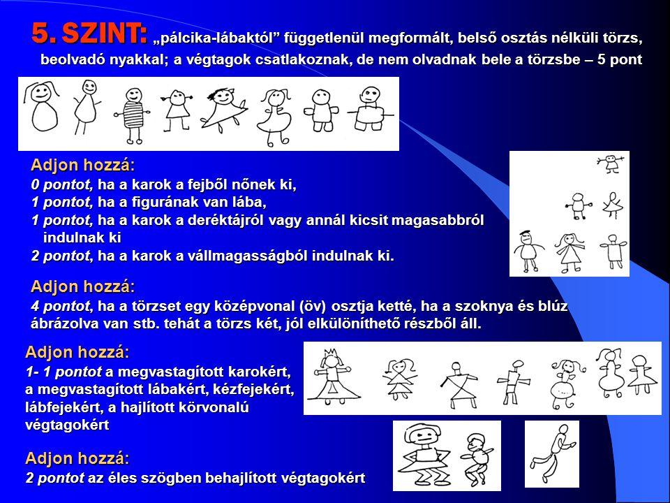 """5. SZINT: """"pálcika-lábaktól függetlenül megformált, belső osztás nélküli törzs, beolvadó nyakkal; a végtagok csatlakoznak, de nem olvadnak bele a törzsbe – 5 pont"""