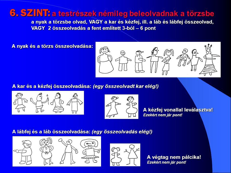 6. SZINT: a testrészek némileg beleolvadnak a törzsbe a nyak a törzsbe olvad, VAGY a kar és kézfej, ill. a láb és lábfej összeolvad, VAGY 2 összeolvadás a fent említett 3-ból – 6 pont