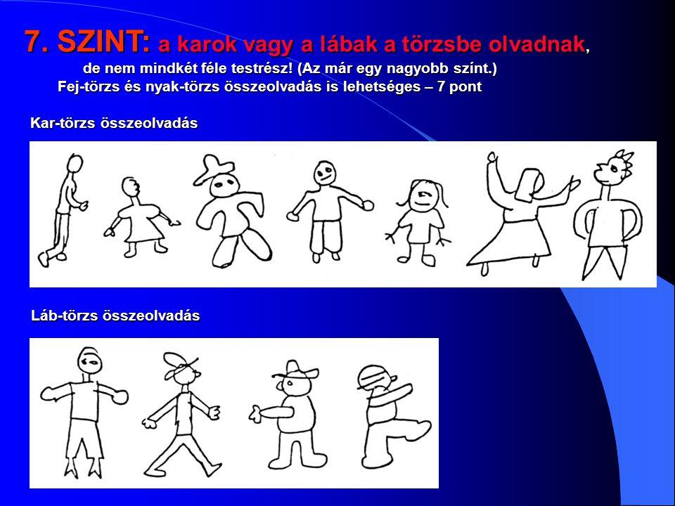 7. SZINT: a karok vagy a lábak a törzsbe olvadnak, de nem mindkét féle testrész! (Az már egy nagyobb színt.)