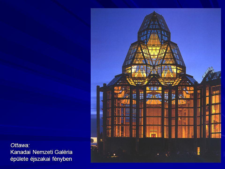 Ottawa: Kanadai Nemzeti Galéria épülete éjszakai fényben