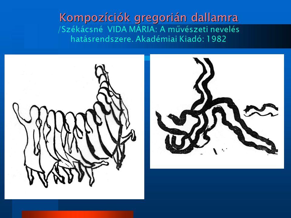Kompozíciók gregorián dallamra /Székácsné VIDA MÁRIA: A művészeti nevelés hatásrendszere.