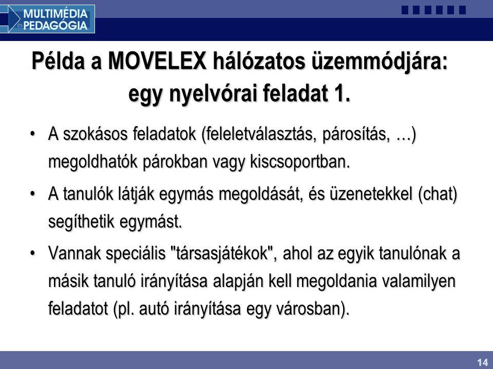 Példa a MOVELEX hálózatos üzemmódjára: egy nyelvórai feladat 1.