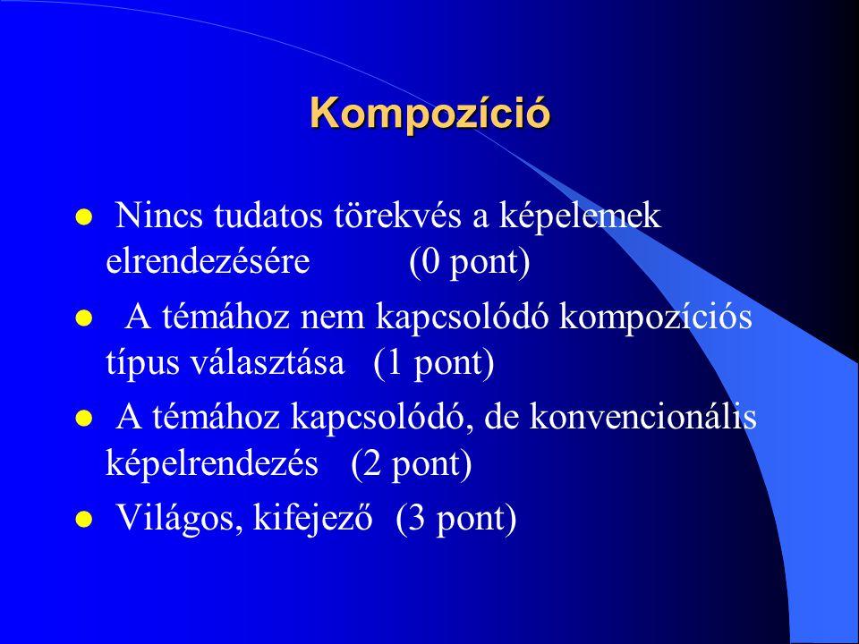 Kompozíció Nincs tudatos törekvés a képelemek elrendezésére (0 pont)