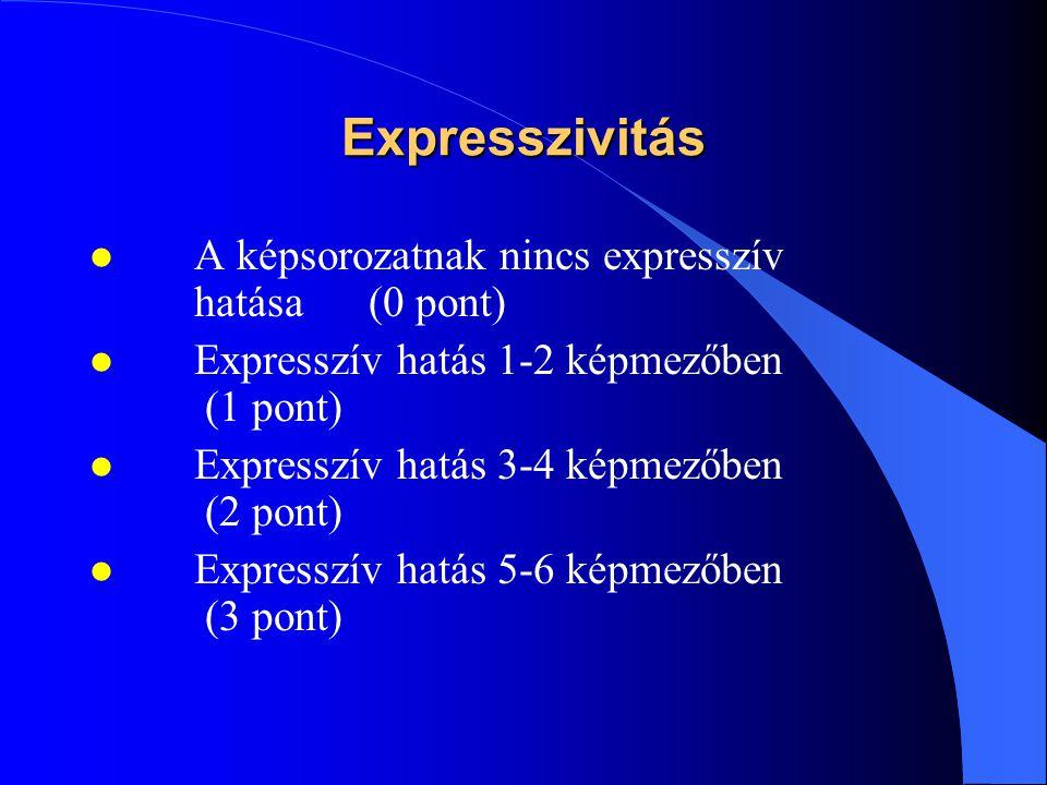 Expresszivitás A képsorozatnak nincs expresszív hatása (0 pont)