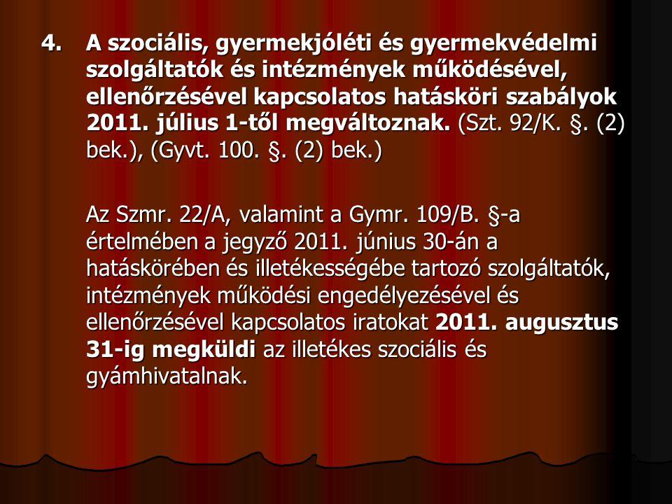 4. A szociális, gyermekjóléti és gyermekvédelmi szolgáltatók és intézmények működésével, ellenőrzésével kapcsolatos hatásköri szabályok 2011. július 1-től megváltoznak. (Szt. 92/K. §. (2) bek.), (Gyvt. 100. §. (2) bek.)
