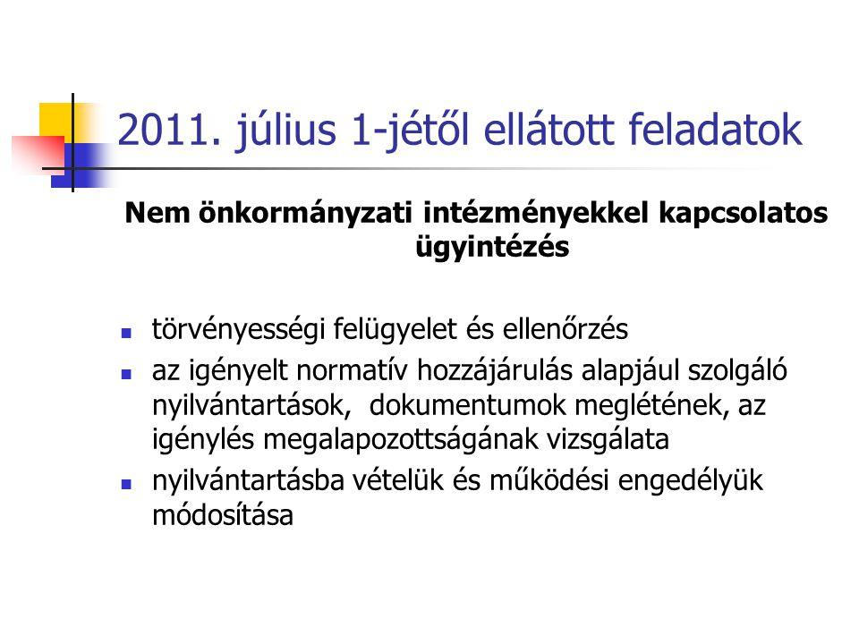 2011. július 1-jétől ellátott feladatok