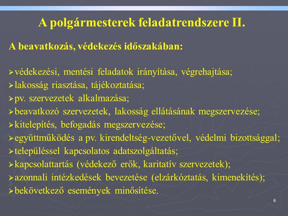 A polgármesterek feladatrendszere II.