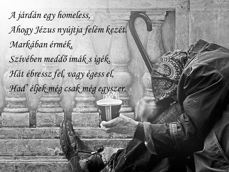 A járdán egy homeless, Ahogy Jézus nyújtja felém kezét. Markában érmék, Szívében meddő imák s igék.