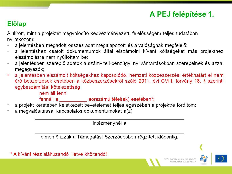 A PEJ felépítése 1. Előlap