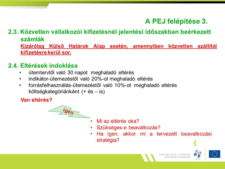 A PEJ felépítése 3. 2.3. Közvetlen vállalkozói kifizetésnél jelentési időszakban beérkezett számlák.