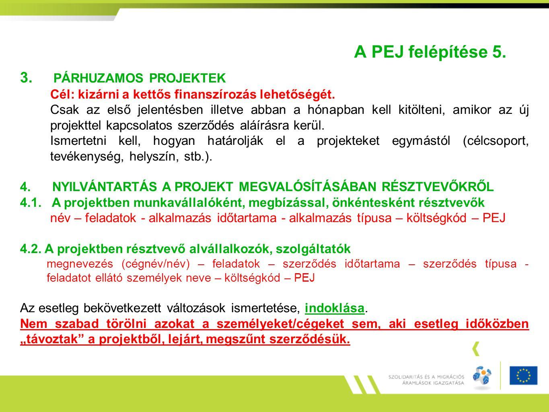A PEJ felépítése 5. 3. PÁRHUZAMOS PROJEKTEK