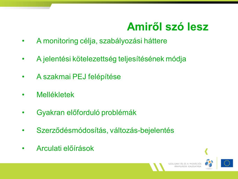 Amiről szó lesz A monitoring célja, szabályozási háttere