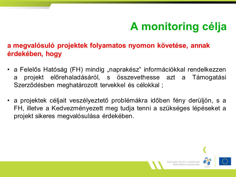 A monitoring célja a megvalósuló projektek folyamatos nyomon követése, annak érdekében, hogy.