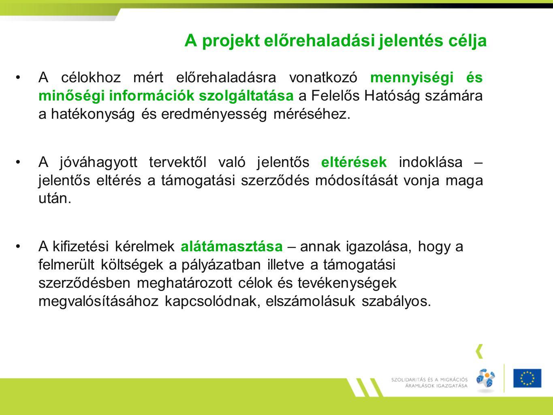 A projekt előrehaladási jelentés célja