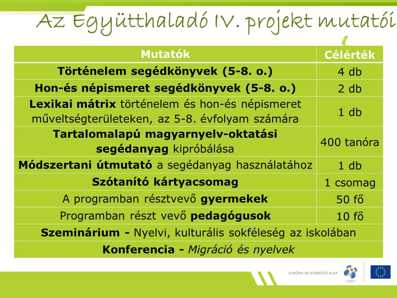 Az Együtthaladó IV. projekt mutatói
