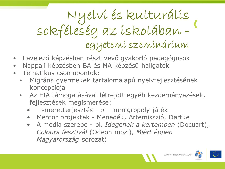 Nyelvi és kulturális sokféleség az iskolában - egyetemi szeminárium
