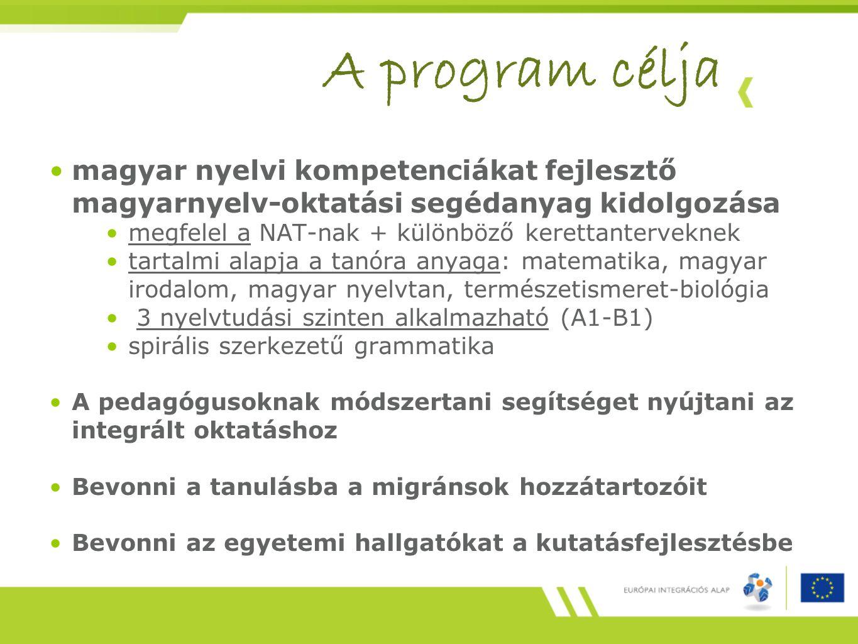 A program célja magyar nyelvi kompetenciákat fejlesztő magyarnyelv-oktatási segédanyag kidolgozása.