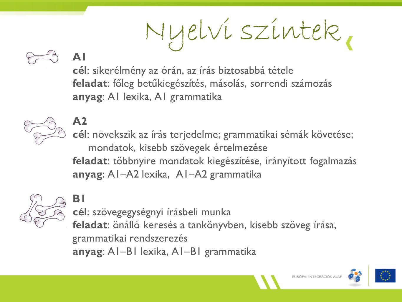 Nyelvi szintek A1 cél: sikerélmény az órán, az írás biztosabbá tétele