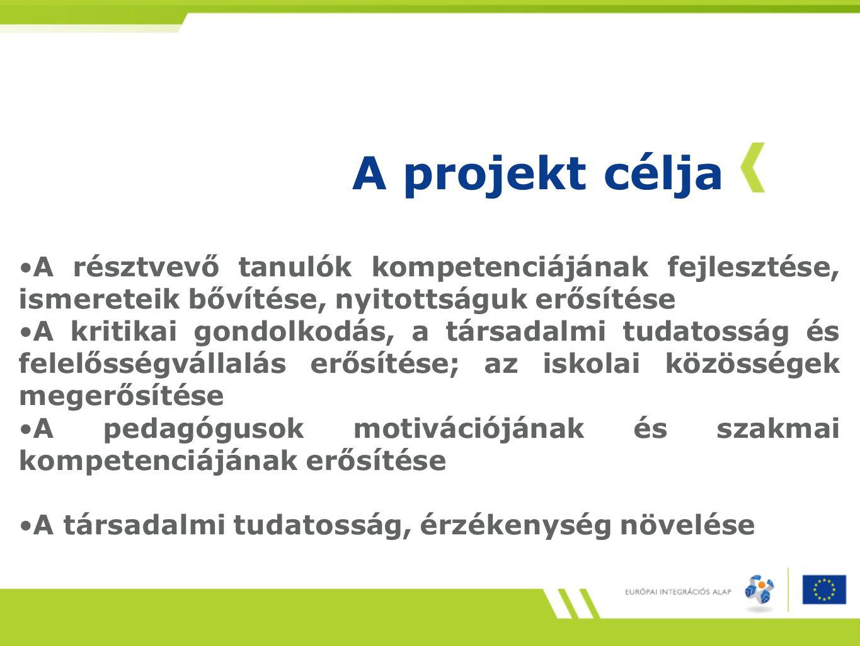 A projekt célja A résztvevő tanulók kompetenciájának fejlesztése, ismereteik bővítése, nyitottságuk erősítése.