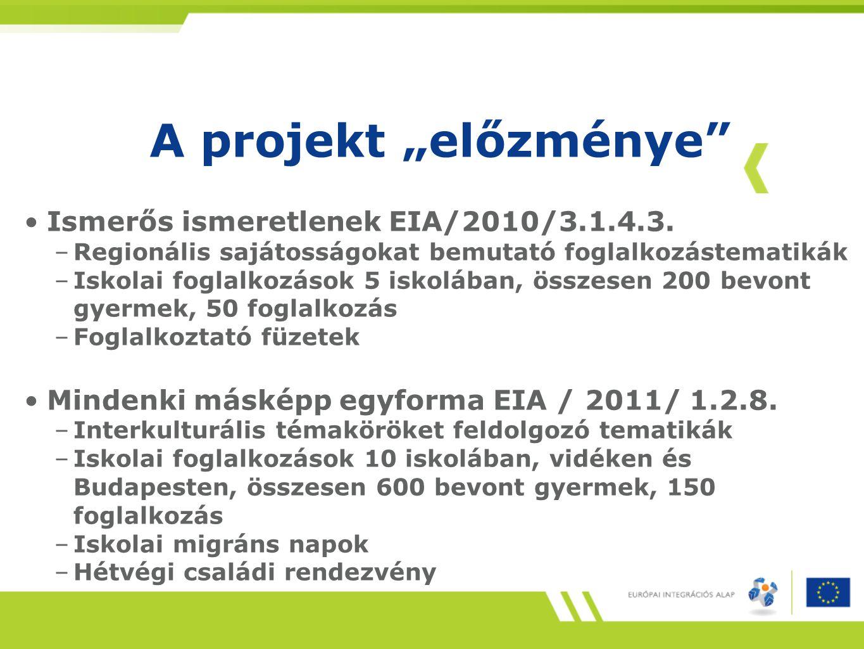 """A projekt """"előzménye Ismerős ismeretlenek EIA/2010/3.1.4.3."""