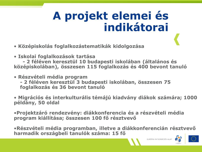 A projekt elemei és indikátorai
